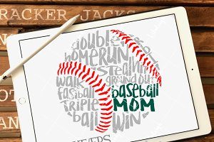 Messy Baseball Mom- DXF, SVG, EPS