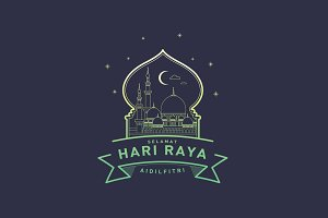 raya greetings template vector