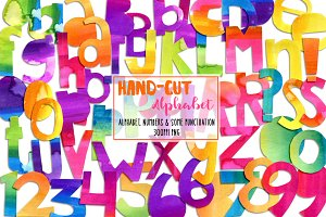 Hand-Cut Watercolor Alphabet