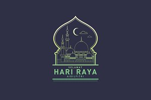 hari raya greetings template vector