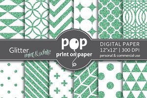 Glitter Mint & White Digital Paper