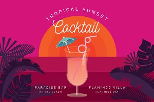 tropical cocktail poster template