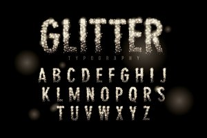 glitter typography design vector