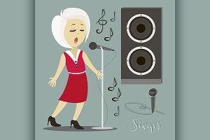 Singing girl. Pop singer