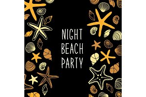 Night beach party poster with different shells and starfishes