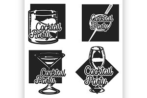 Vintage cocktail party emblems
