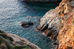 Rocky shore of Crete Island, Greece