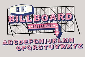 retro signage/ billboard typography