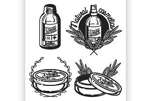 Vintage natural cosmetics emblems