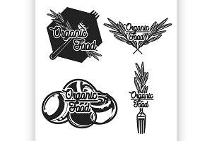 Vintage organic food emblems