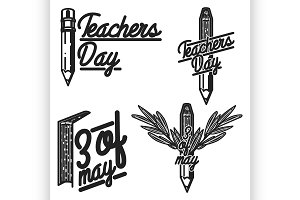 Vintage teachers day emblems