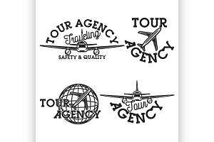 Vintage tour agency emblems