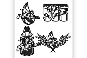 Vintage water purification emblems