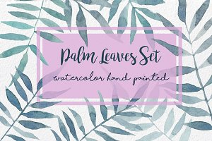 Palm Leaves watercolor hand painted
