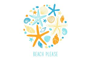 Cute vintage background with hand drawn shells and starfishes