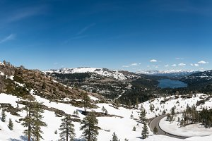 Panorama of Sierra Nevada mountains from Donner Pass
