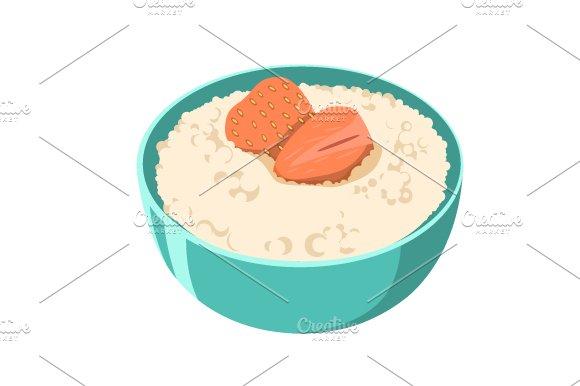 Oatmeal Porridge In Green Bowl