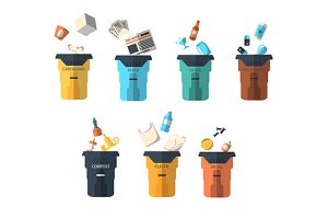 Waste sorting of garbage types
