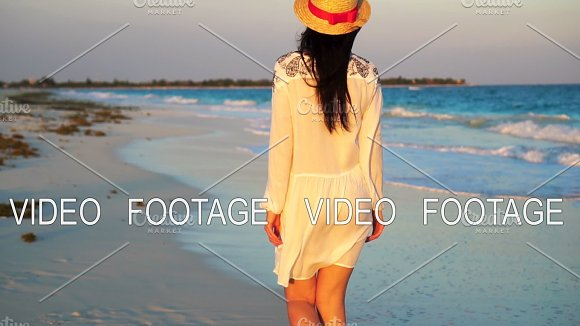 Beautiful Woman On Summer Holidays On White Beach Happy Girl Walking In Summer Dress SLOW MOTION