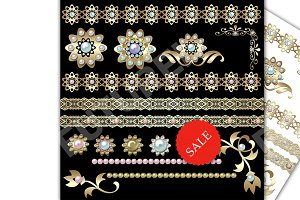 50% OFF SALE Gold and Pearls clipart