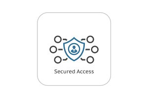 Secured Access Icon. Flat Design.