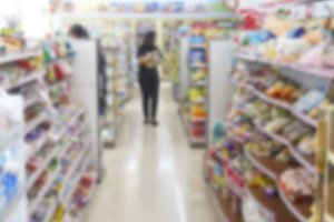 Supermarket store blur background ,Product shelf