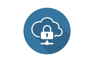 Cloud Data Protection Icon. Flat Design.