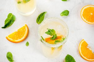 Fresh orange and mint lemonade