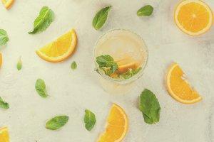 Fresh orange and mint lemonade