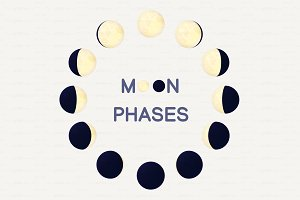 ♥ vector cartoon moon phases 02