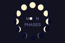 ♥ vector cartoon moon phases 01