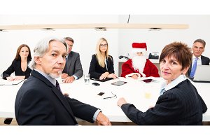 Very Serious Business Team Having A Talk With Santa