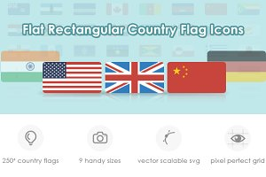 Flat Rectangular World Flag Icon Set