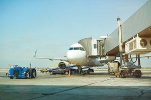 Air plane in airport terminal