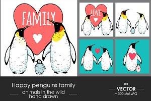 Happy penguin family illustrations