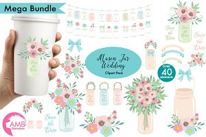 Wedding Clipart, Mason Jars, 966