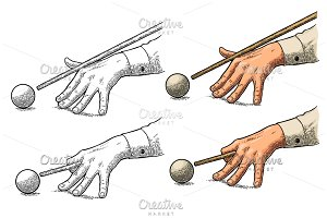 Male hand in a shirt is aimed cue the ball.