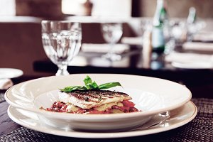 Sea bass fillet with tomato sauce