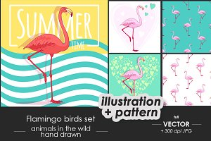 Flamingo bird set