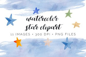 Watercolor Star Clipart