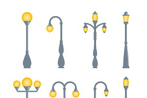 Vector vintage streetlights set