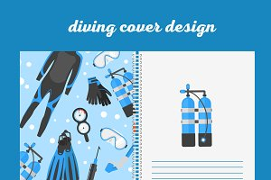 Cover design print with diving