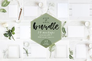 Green & White Mockups Bundle + Bonus