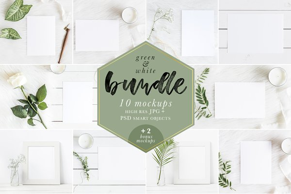 Green & White Mockups Bundle + Bonu…