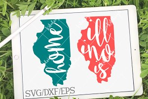 Illinois Home Name- DXF, SVG, EPS