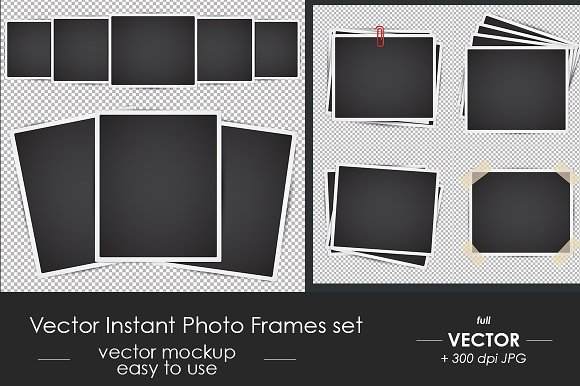 Vector Instant Photo Frames Set