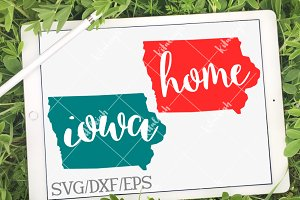 Iowa Home Name- DXF, SVG, EPS