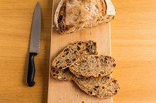 Cutting Handmade Bread for Breakfast