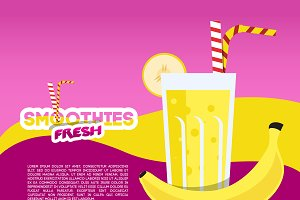Banana smoothies illustration