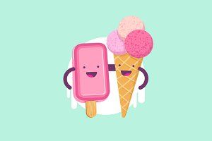 Cute funny Ice Cream characters.